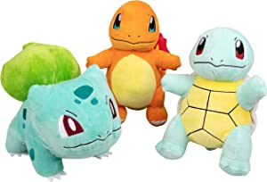 "Pokémon Plush Starter 3 Pack - Charmander, Squirtle & Bulbasaur 8"" Generation One Stuffed Animals"