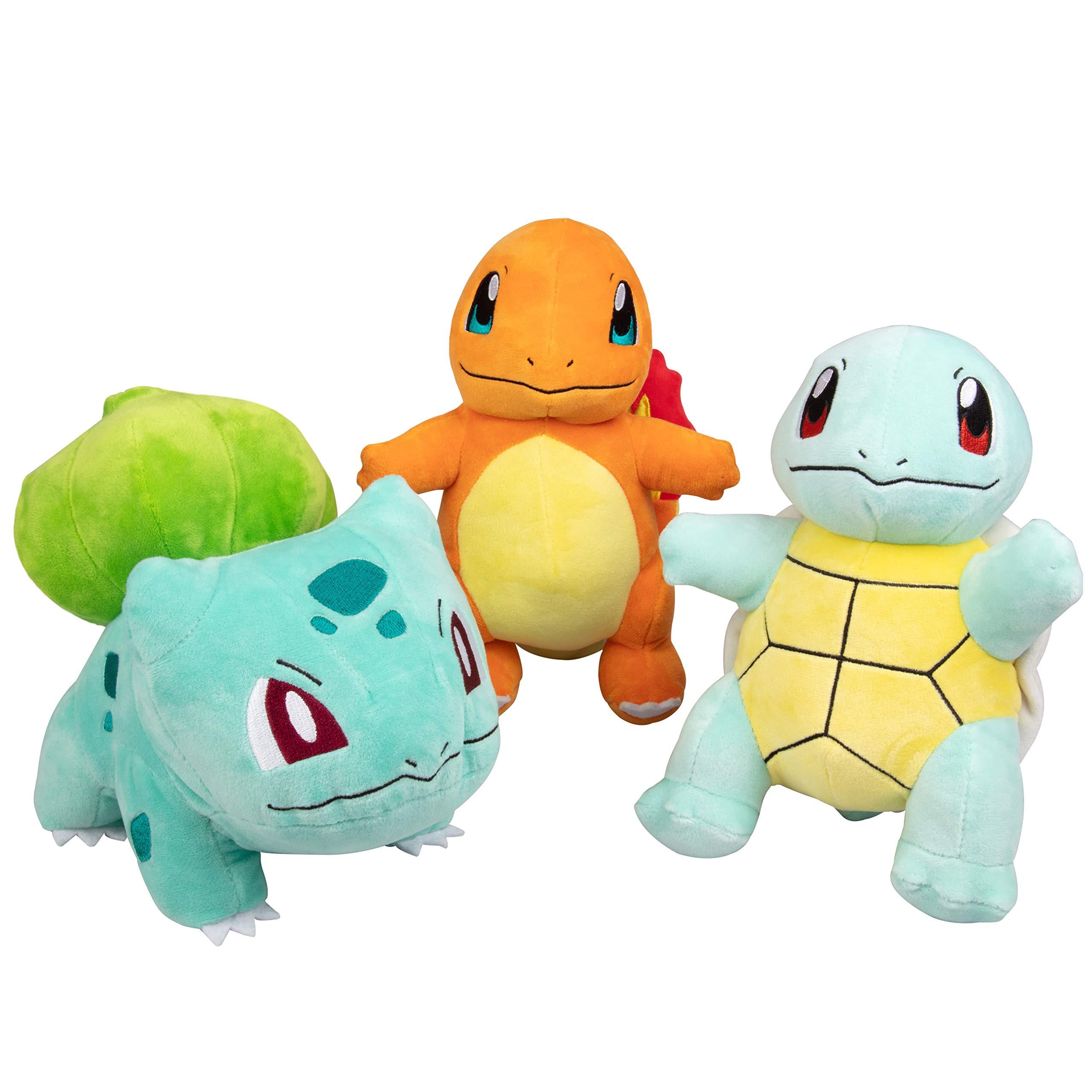 Pokémon Plush Starter 3 Pack - Charmander, Squirtle & Bulbasaur 8'' Generation One Stuffed Animals by Pokemon