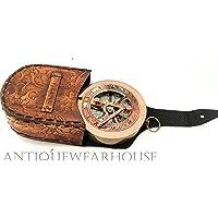 Astrolabio náutico latón envejecido brújula de trabajo con funda de piel clásico Decoración