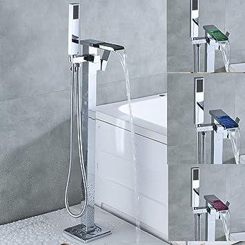 Qpoes23 de salle de bain Chrome sur pied Baignoire robinet LED cascade Bec  Pulvérisateur à main levée de montage au sol