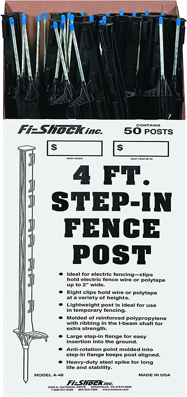 Fi-Shock A-48B 4 ft. Black Step-In Fence Post - 50 Posts Included