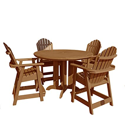 counter height outdoor dining set wrought iron highwood piece hamilton round counter height dining set toffee amazoncom