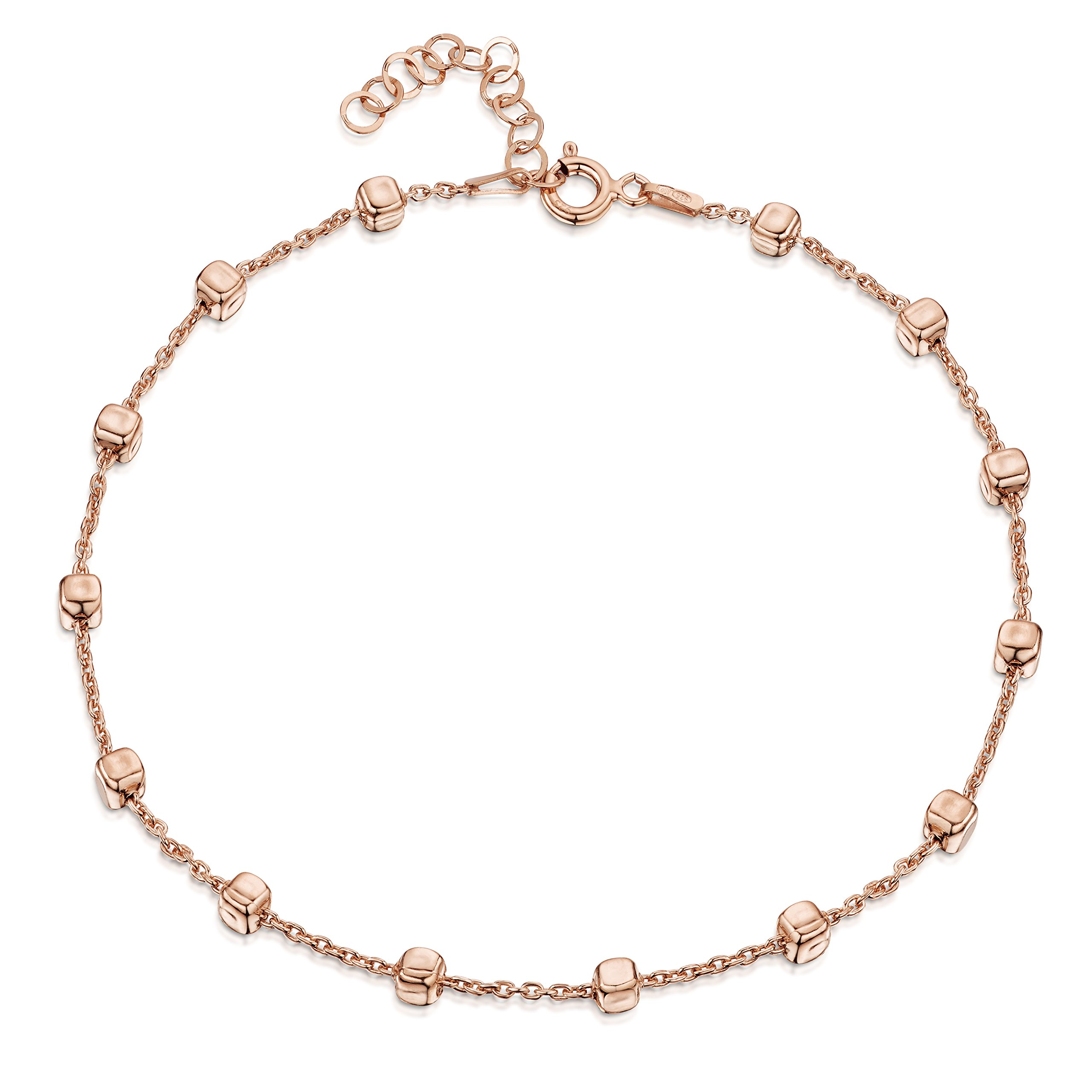 14K Rose Gold Plated on 925 Fine Sterling Silver 1.7 mm Adjustable Anklet - Trace Chain with 3.2 mm Cube Beads Ankle Bracelet - 9'' to 10'' inch - Flexible Fit