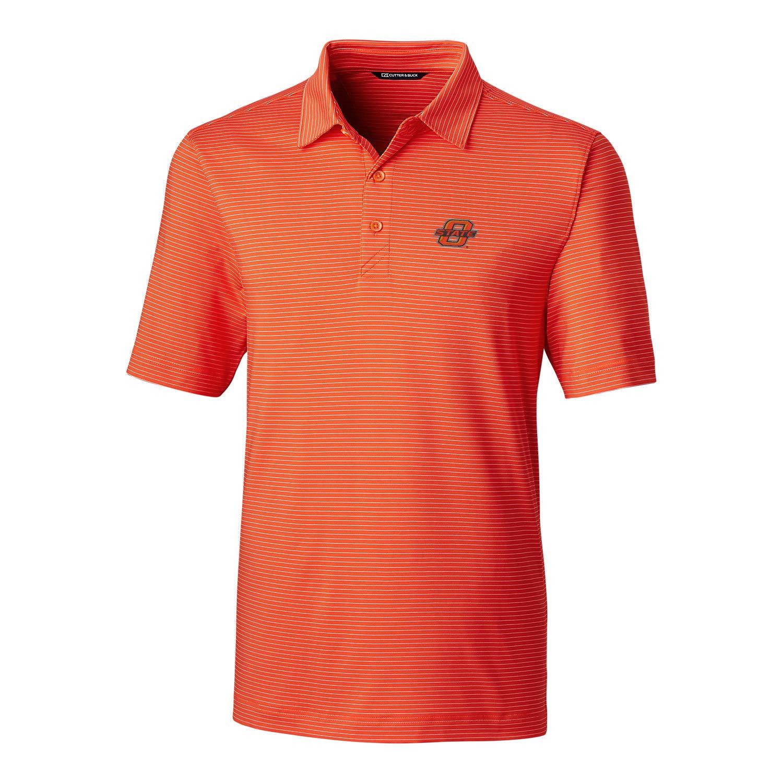 NCAA Oklahoma State Cowboys Mens Short Sleeve Pencil Stripe Forge Polo XXL College Orange