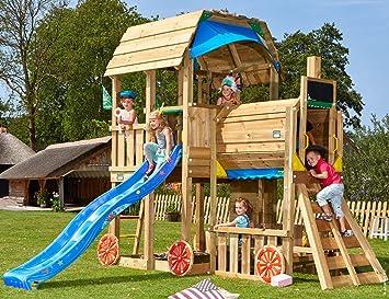 Jungle Gym Barn Train Azul Parques Infantiles de Madera para Jardin con Tobogan y Columpio: Amazon.es: Juguetes y juegos