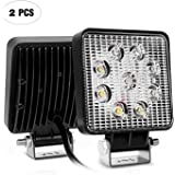 Nilight NI15E-27W 2PCS 27W Spot LED Work Bars Driving Lamps Waterproof Road Fog Lights for Truck ATV SUV Jeep Boat