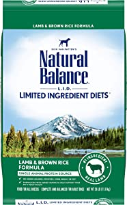 Natural Balance L.I.D. Limited Ingredient Diets Dry Dog Food, Lamb & Brown Rice Formula, 26 Pounds
