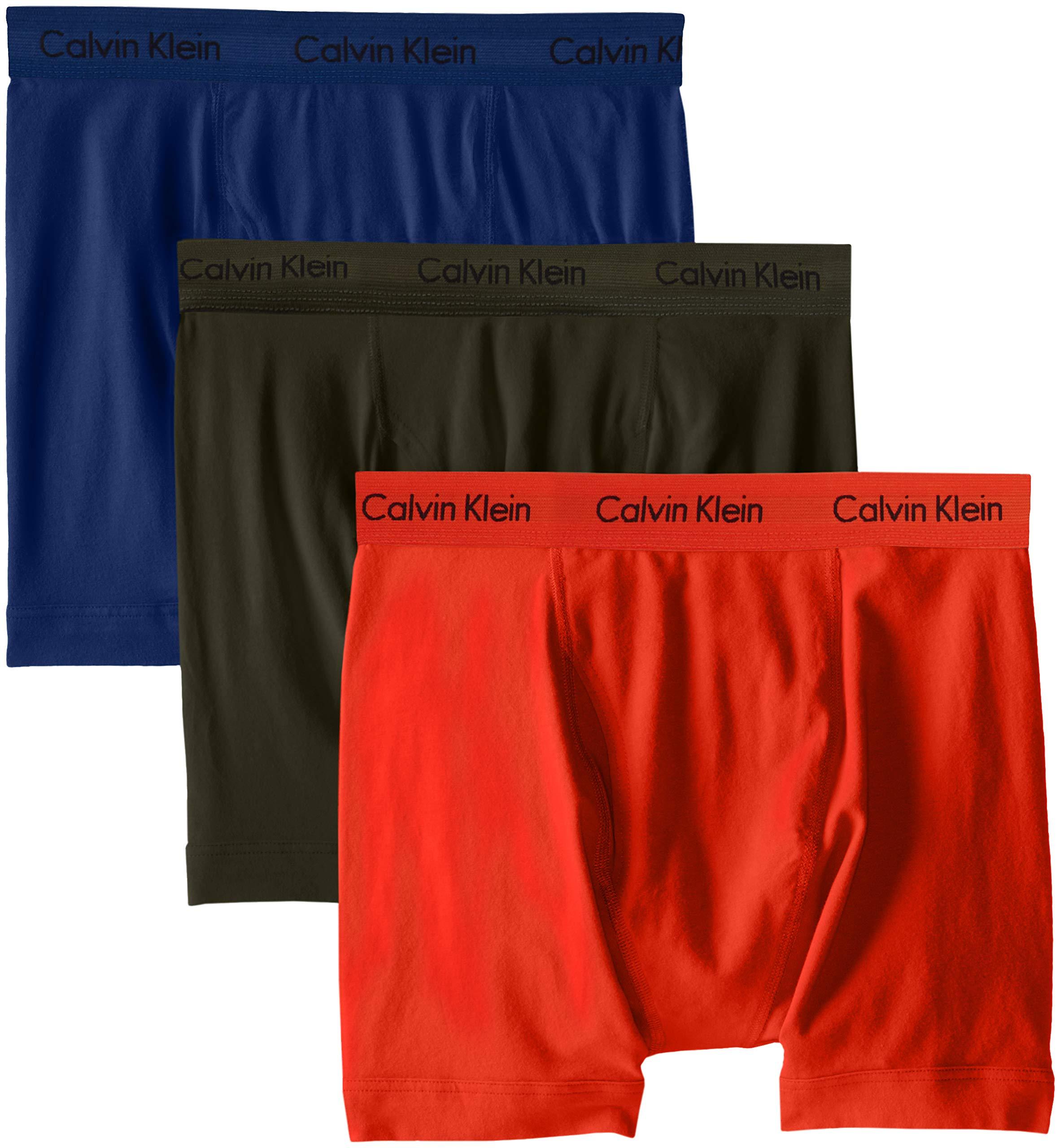 Calvin Klein Men's Cotton Stretch 3 Pack Boxer Briefs, Forest Dark Night/Spicy Orange, L