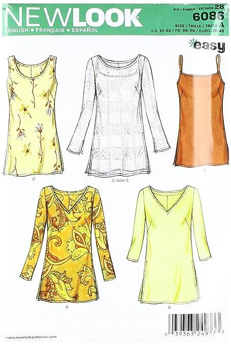 New Look 6086 - Patrón de costura para top de señora (tallas 36 a 48 ...