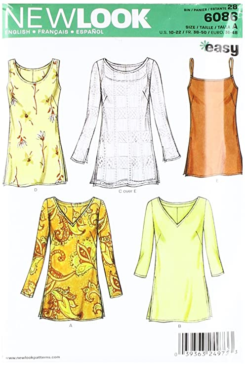 Amazon.com: New Look Sewing Pattern 6086 Misses Tops, Size A (10-12 ...