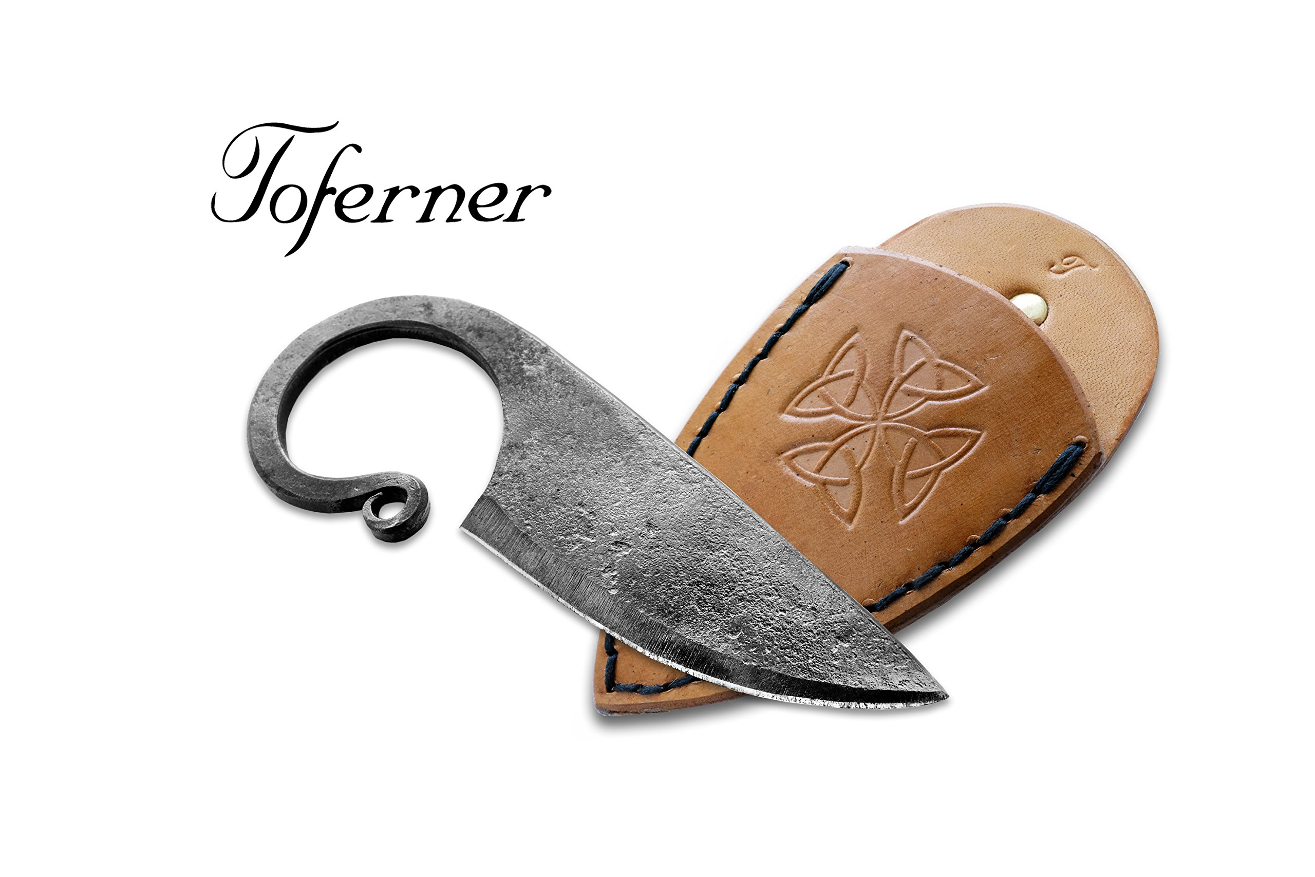 Toferner Original Gift, Beautiful Product - Celtic Pocket Knife On a Belt, Hand Forged Knife.Hardened Blade, Vintage, Art Collection, Antiquity, Great.Beautiful Product.