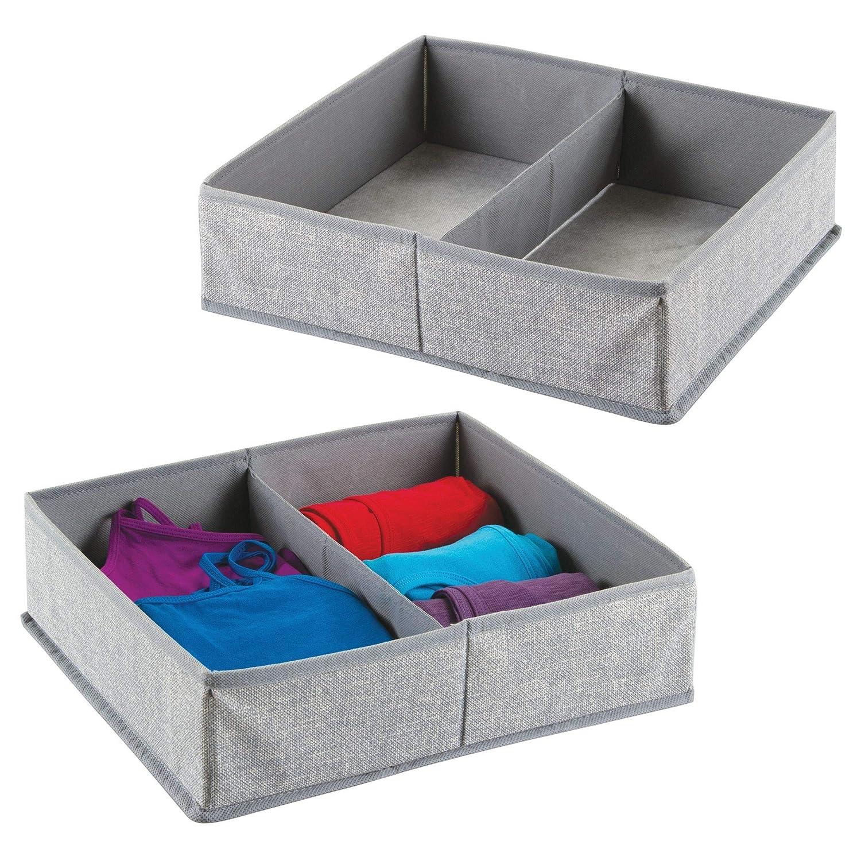 mDesign set da 2 scatole in tessuto con 2 scomparti – Portaoggetti e portabiancheria per la casa – Ideale per vestiti, coperte e biancheria – Colore: grigio MetroDecor 7611MDCO
