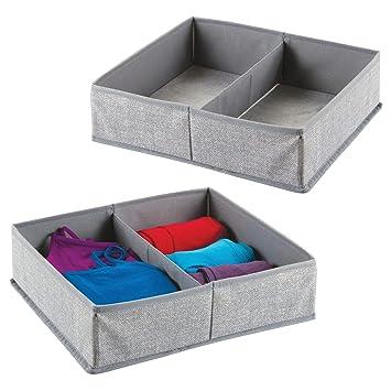 mDesign Juego de 2 cajas organizadoras de tela con 2 compartimentos - Los organizadores para cajones y armarios ideales - Versátiles cestas de tela - Color: ...