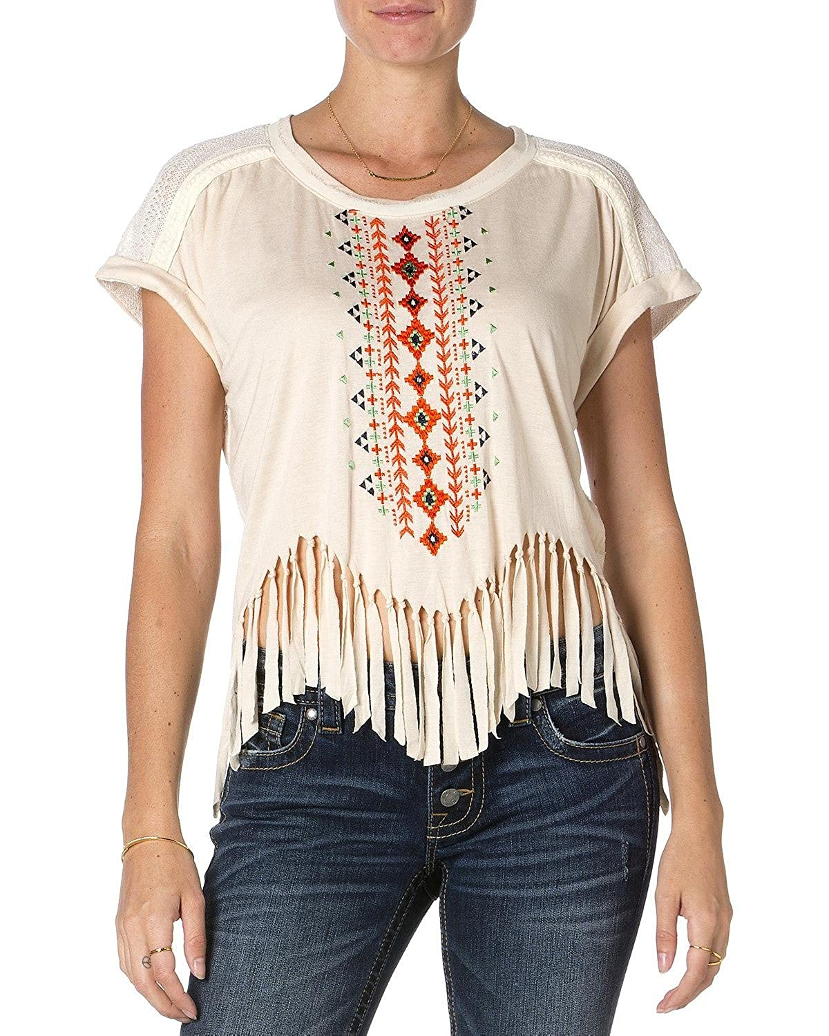 Miss Me Women's Short Sleeve Taupe Fringe Top - Mdt1047s Taupe