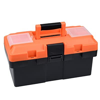 GANCHUN 14-inch Consumer Storage and Toolbox for Tool or Craft Storage, Locking Lid and Extra Storage. [5Bkhe1501303]