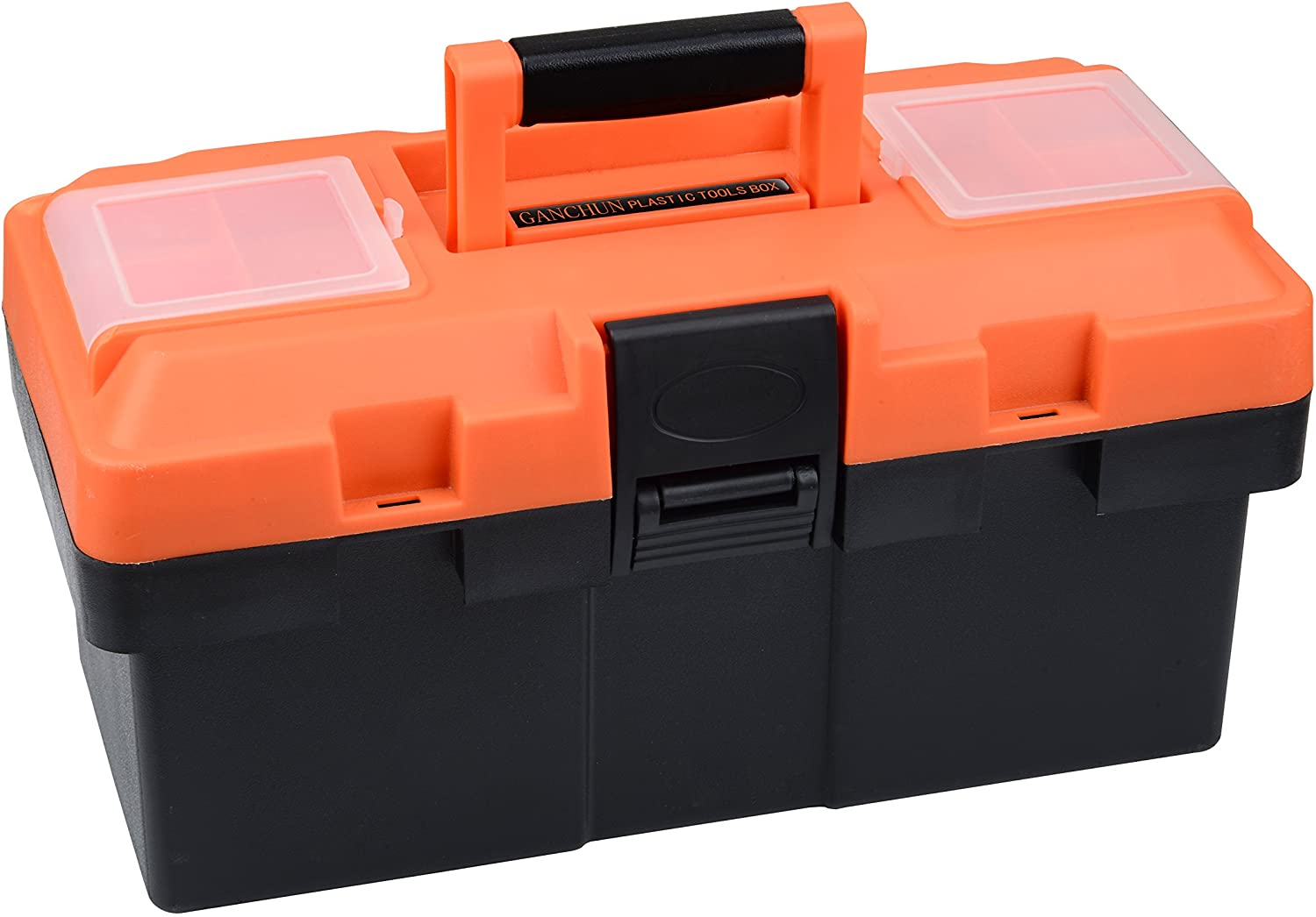 Plastic Tool Box, 14 -inch Portable Tool Box Plastic Toolbox with Removable Tool Tray and Detachable Tool Kit For Craft Storage, Household: Home Improvement
