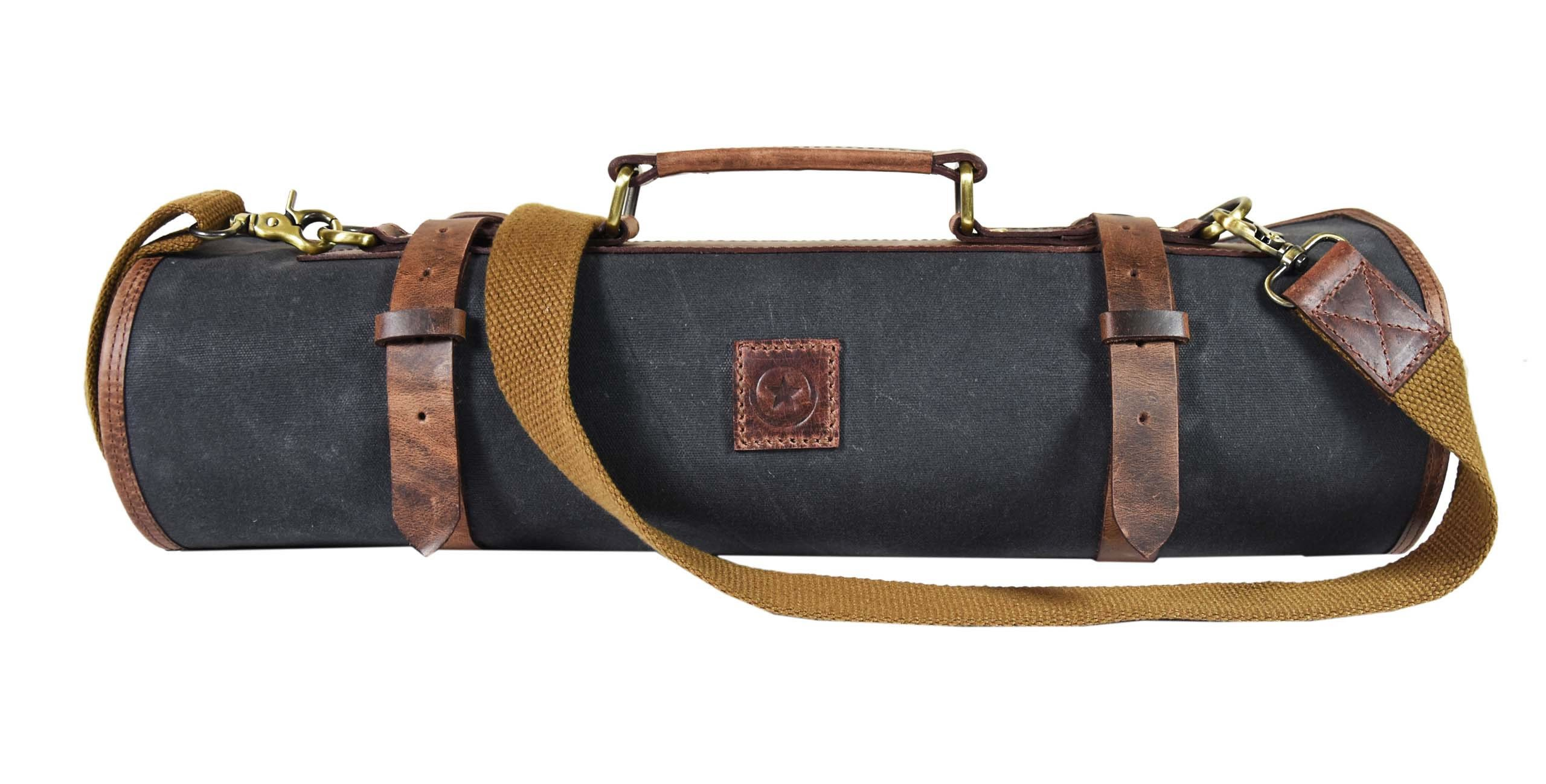 Leather Knife Roll Chef Roll Storage Bag Aaron Leather (Fossil Grey) by Aaron Leather (Image #2)