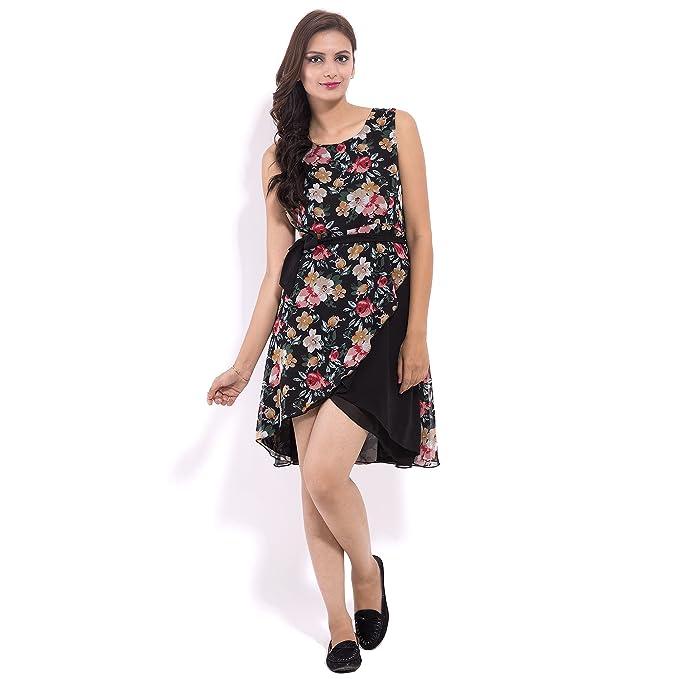 f63b616e2baa2 Faunashaw Women s Casual Wear Floral Nice Rayon Black Dress