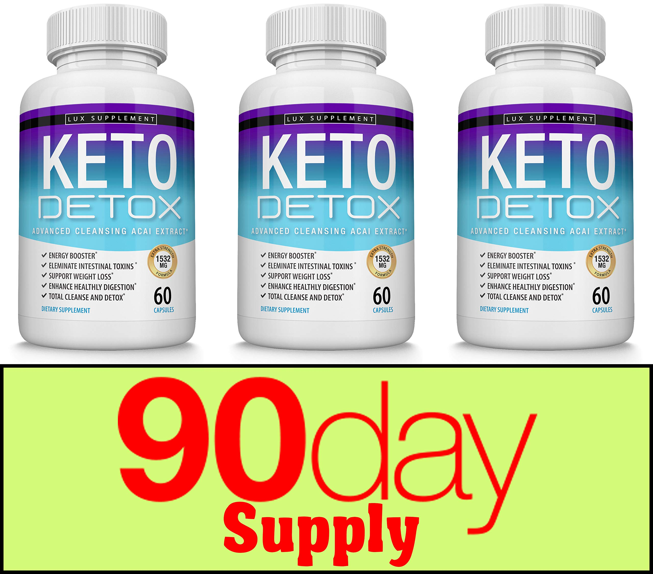 Keto Detox Pills Advanced Cleansing Extract - 1532 Mg Natural Acai Colon Cleanser Formula Using Ketosis & Ketogenic Diet, Flush Toxins & Excess Waste, for Men Women, 60 Capsules, Lux Supplement by Lux Supplement