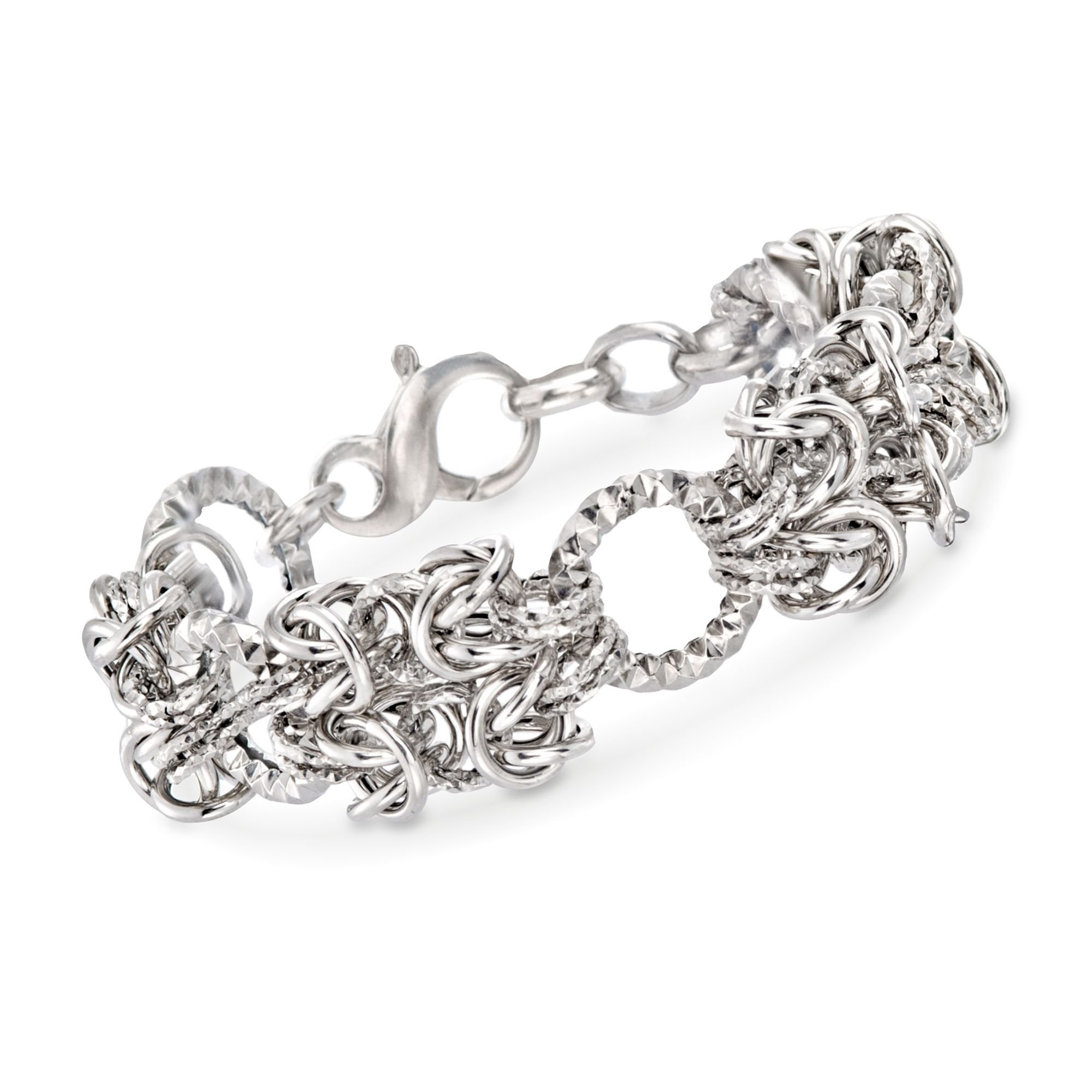 Ross-Simons Italian Sterling Silver Byzantine and Textured Circle Bracelet. 7.5''