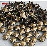 Gleader 100 Pcs. 8.00 Mm. Brass Glam Pyramid Studs Nailheads