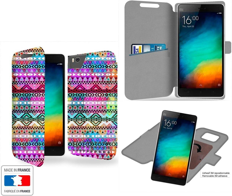 Funda Carcasa Xiaomi Mi4C Aztec Colors Tribal Collection Pattern de almacenamiento innovadoras con tarjeta de la puerta interna - Estuche protector de Xiaomi Mi4C con fijación adhesiva reposicionable