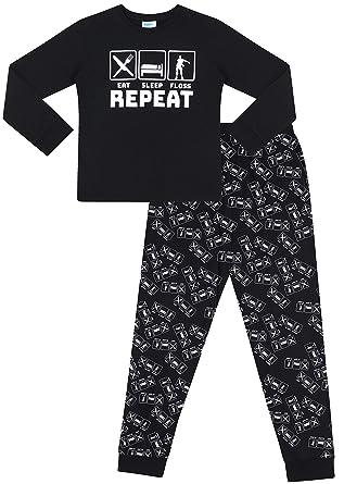 c4061fc853e0b The Pyjama Factory - Ensemble de Pyjama - Garçon Noir Noir - Noir - 7 Ans