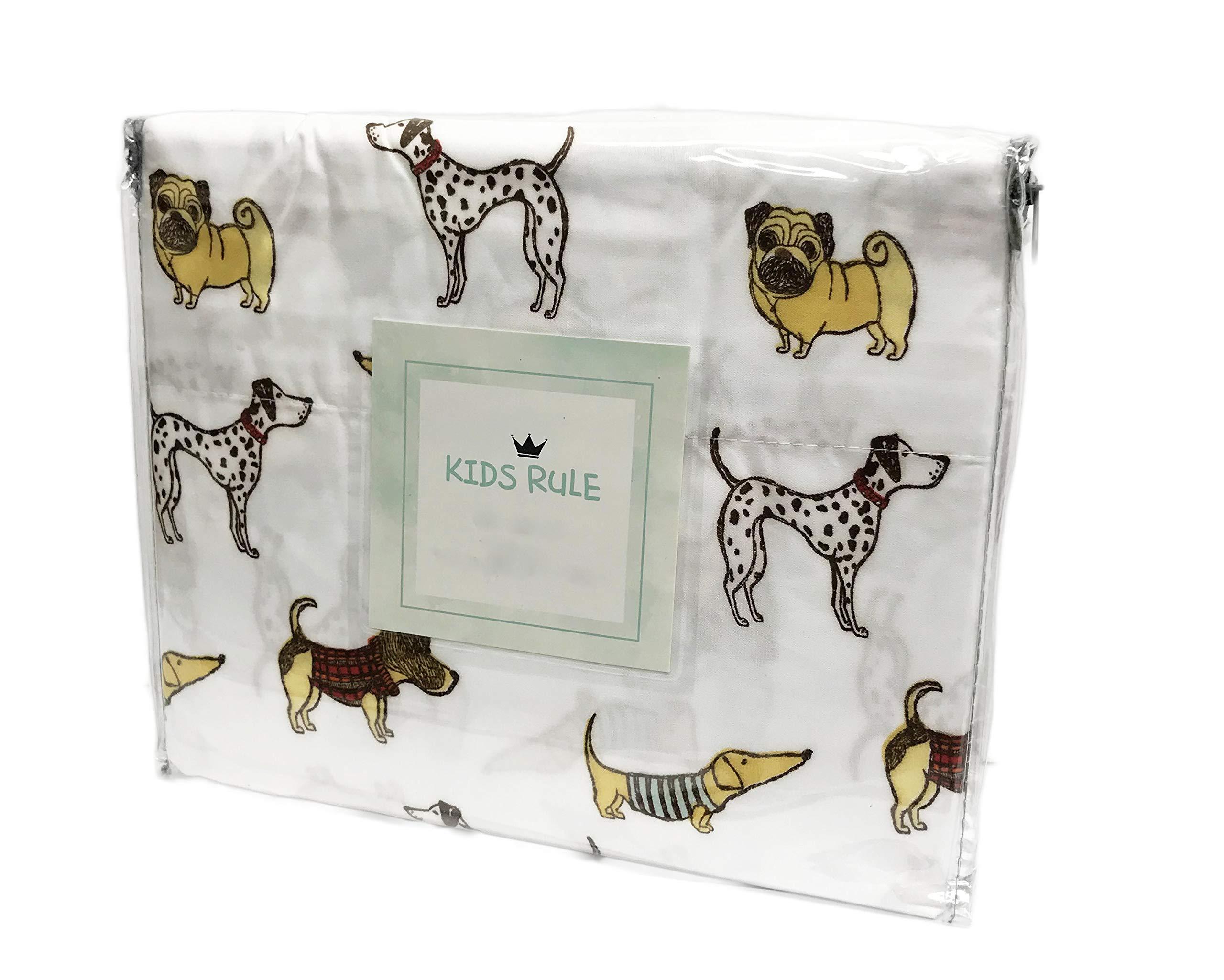 Cute Multi Dog Breeds Dachshund Dalmatian Pug Novelty Kids Bedroom Sheet Set (Full)