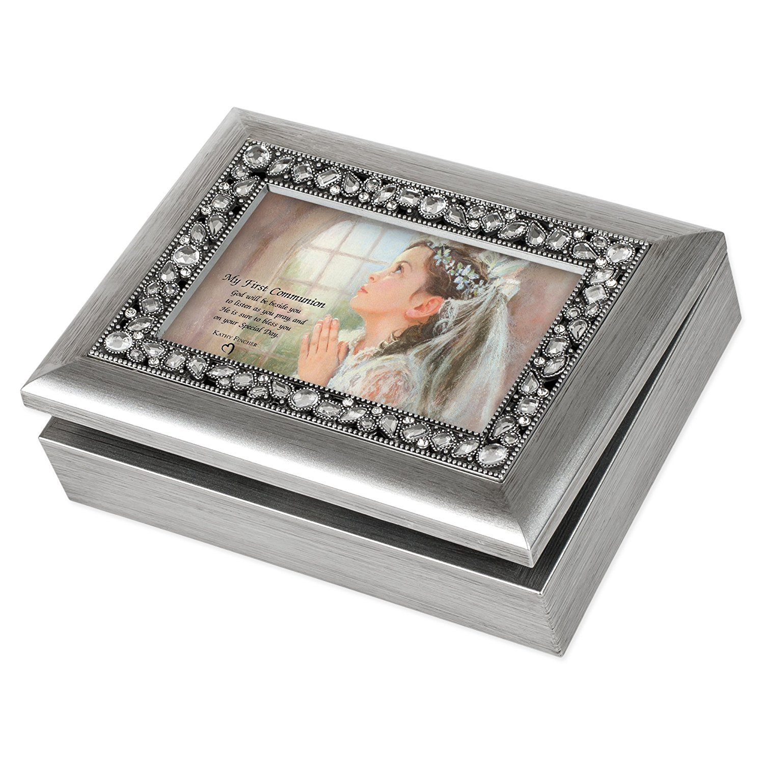 My First Communion Girl Brushed Silver Jeweled Inlay Jewelry Music Box Plays You Light Up My Life Cottage Garden 6166429