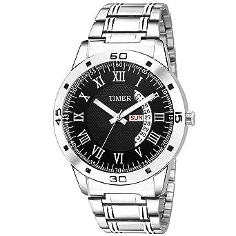 3424da11ec1c Timer Fashionable Wrist Watch Black Dial Analog Silver Chain Chronograph Wrist  Watch for Men   Boys