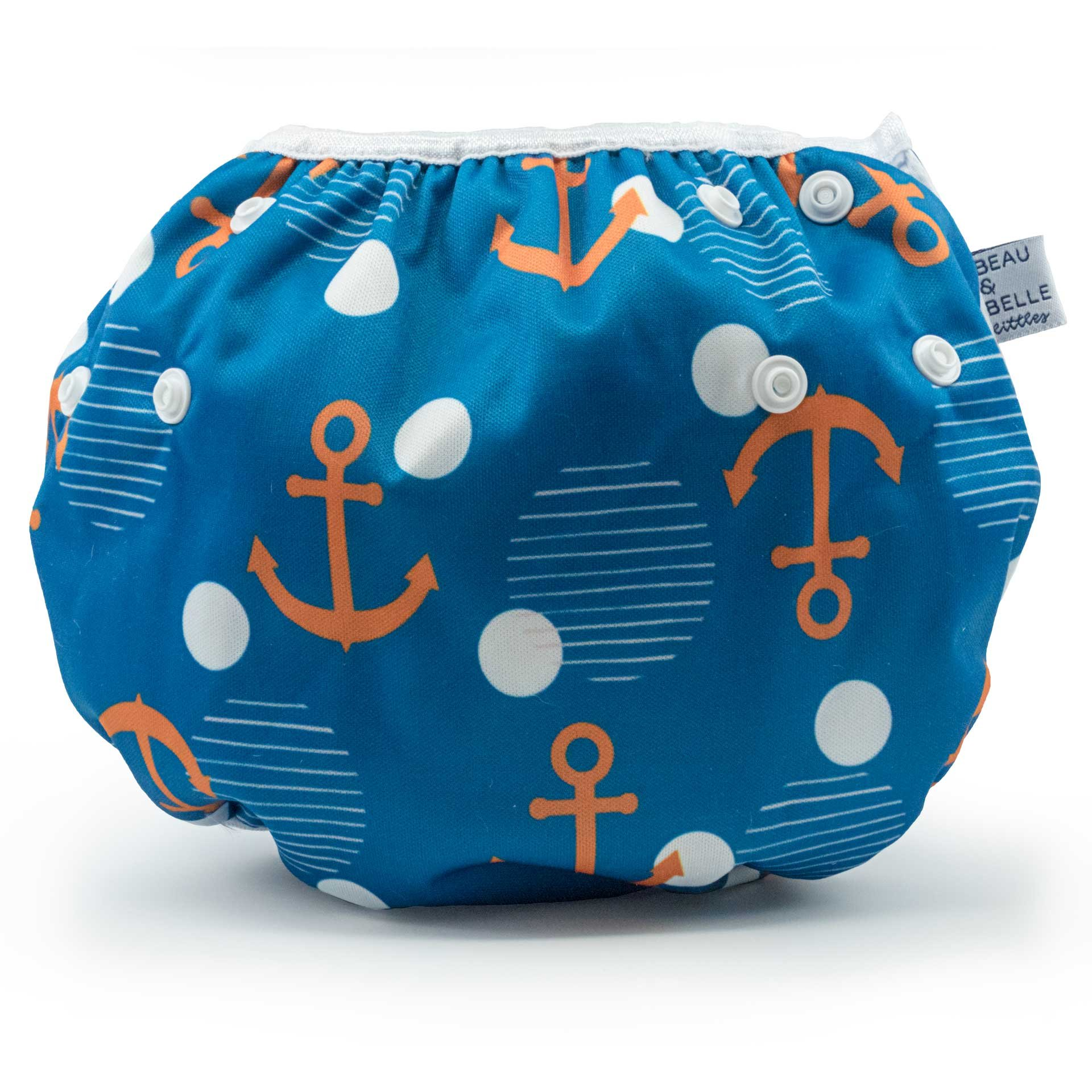 Large Nageuret Reusable Swim Diaper, Adjustable & Stylish Fits Diapers Sizes 4-7 (Approx. 20-55lbs) Ultra Premium Quality for Eco-Friendly & Swimming Lessons (Anchors) by Beau & Belle Littles