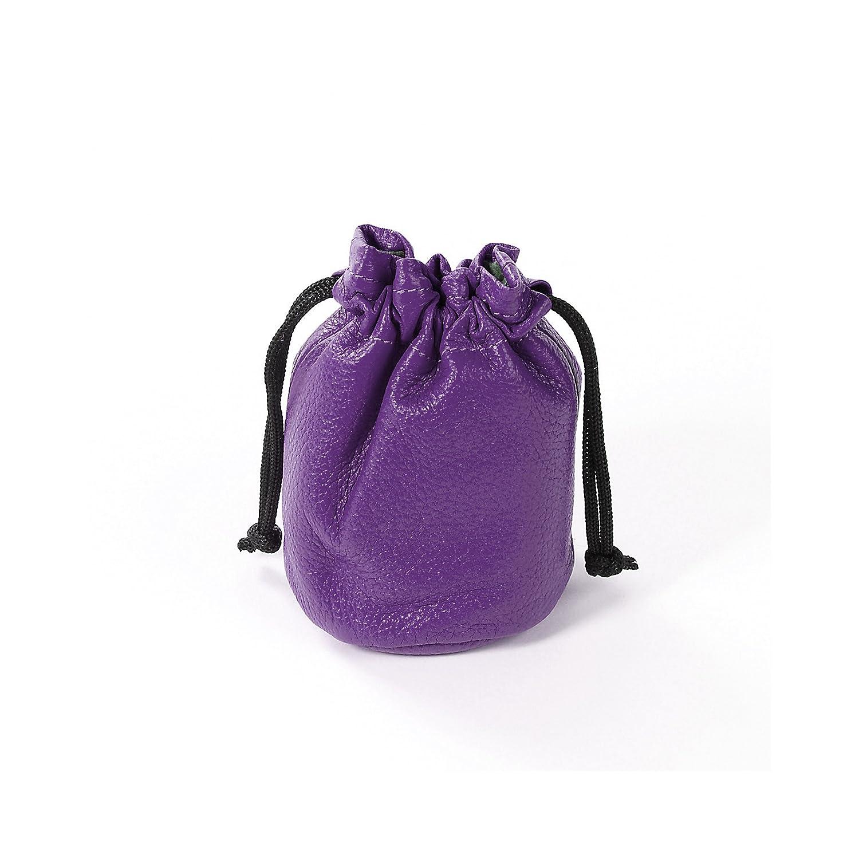 Small Grape Full Grain Leather Drawstring Bag