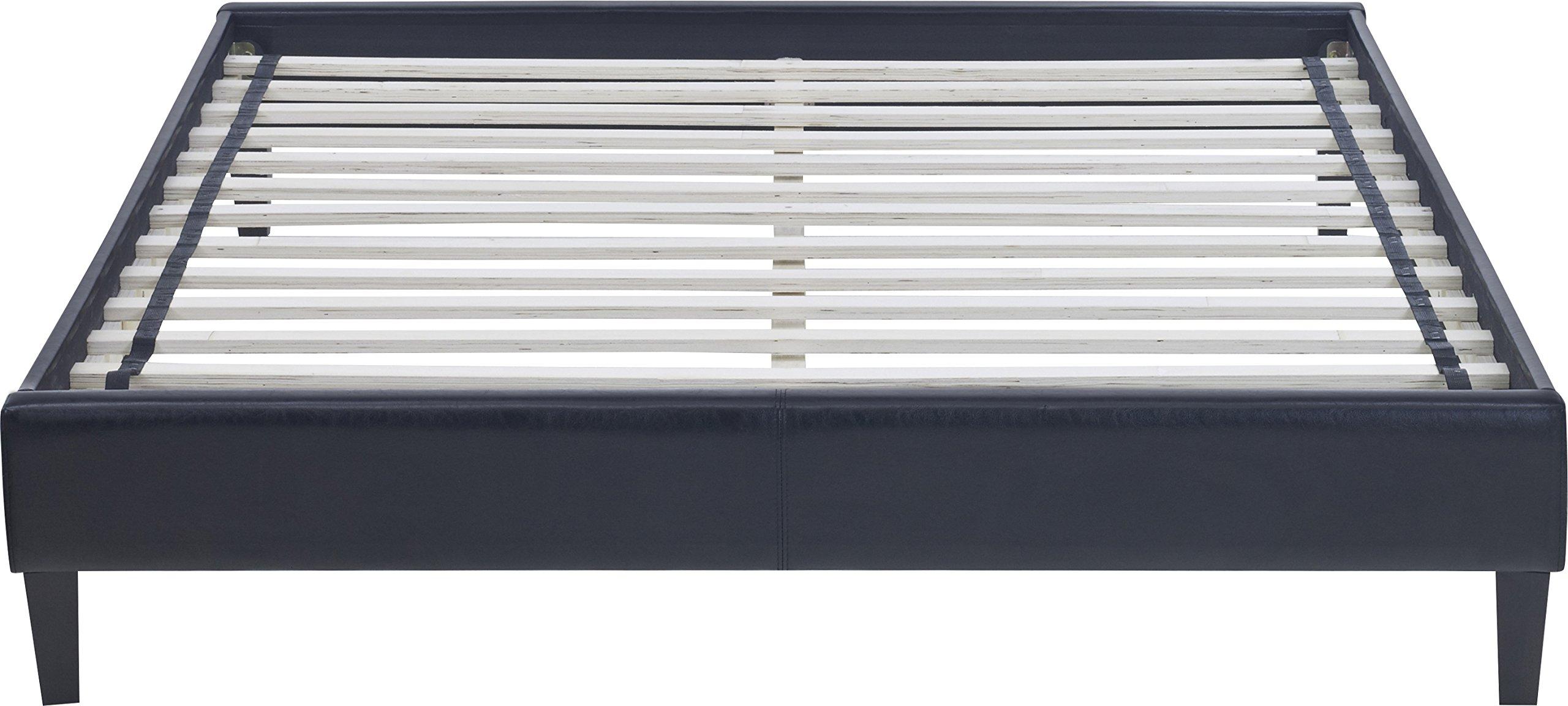 Flex Form Madigan Upholstered Platform Bed Frame with Hardwood Slats: Faux Leather, Black, Full
