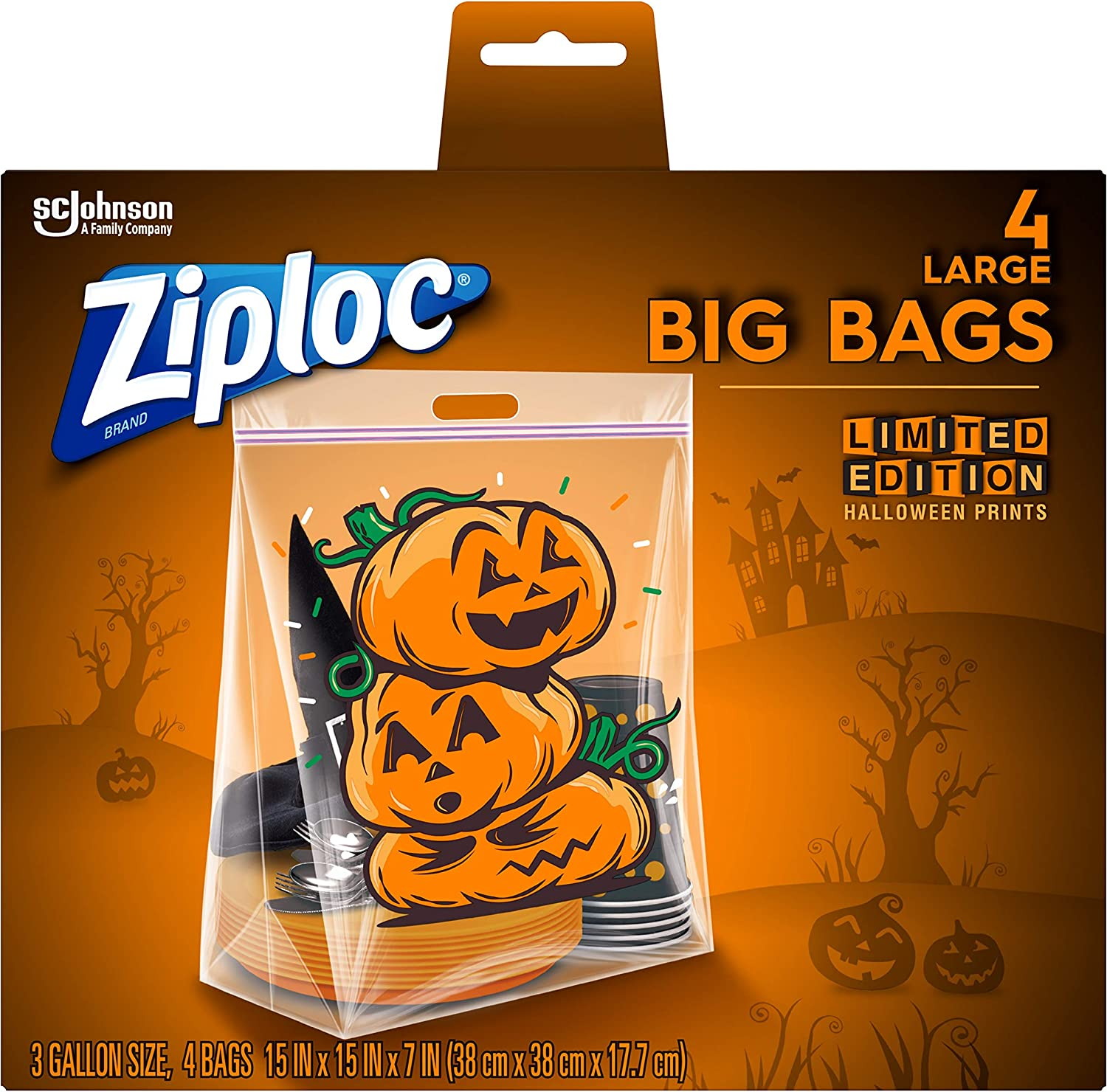 Ziploc Storage Bags, Double Zipper Seal & Expandable Bottom, Large, 4 Count