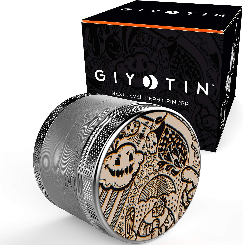 Giyotin Grinder de 4 piezas | Ø 56mm | incluye raspador de polen y bolsa protectora I hecho de aluminio aeronáutico anodizado | dientes afilados de acero (Gris, ø 56mm)