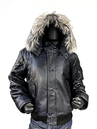154bcd72316 Men s Winter Warm Genuine Leather Bomber Jacket with Real Fur Hood ...