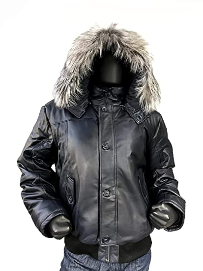 Men S Winter Warm Genuine Leather Bomber Jacket With Real Fur Hood