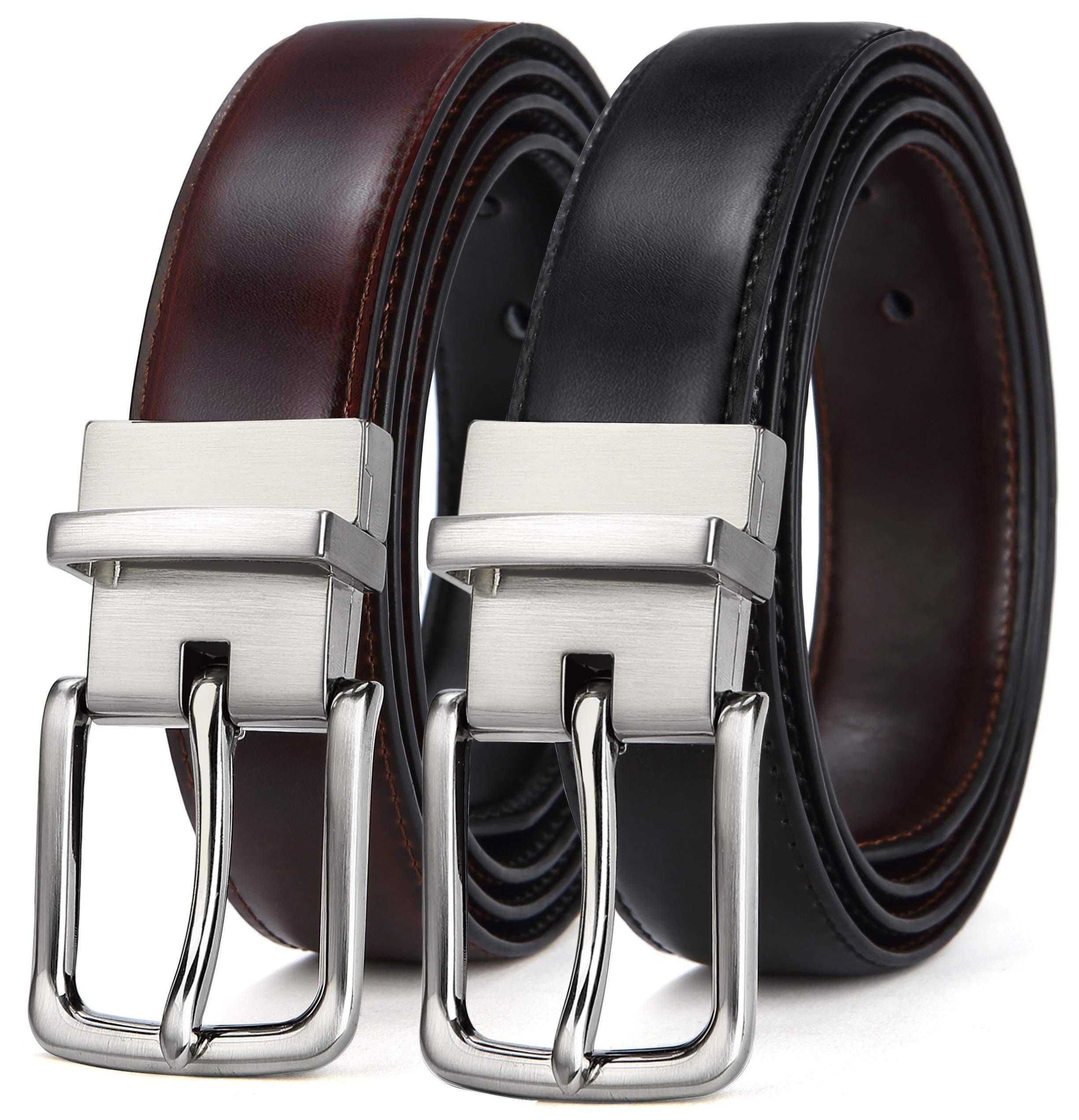 One Belt Reversible for Two Colors Belt for Men,Bulliant Mens Reversible Leather Belt with Holes