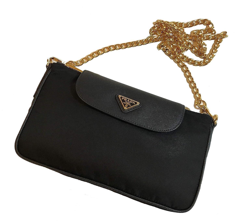 f7420ef8a5a Prada Women's Black Tessuto Saffian Nylon Crossbody 1BH085: Handbags ...