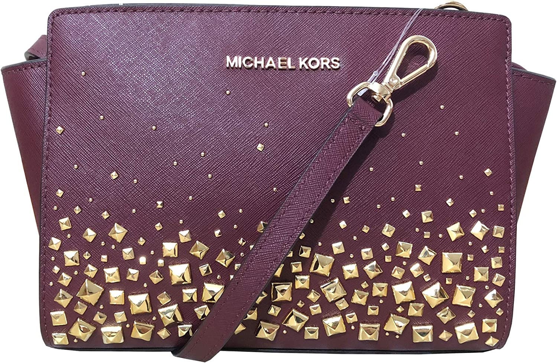 MICHAEL Michael Kors Selma Stud Medium Messenger Leather Crossbody Bag – Merlot