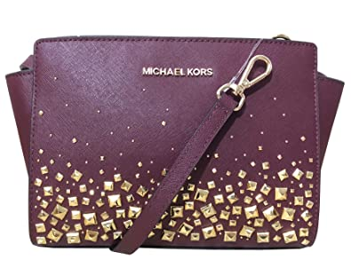 f5cbb18beccf MICHAEL Michael Kors Selma Stud Medium Messenger Leather Crossbody Bag -  Merlot