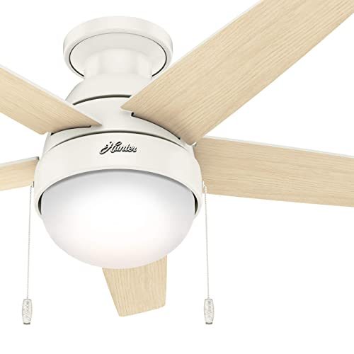 Hunter Fan 46 inch Low Profile Fresh White Indoor Ceiling Fan with Light Kit and Pull Chain Renewed