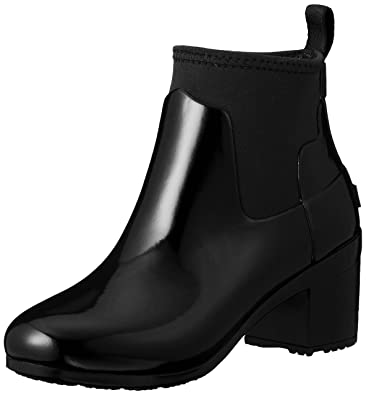 976974839e5 Hunter Women s Refined Mid Heel Gloss Rain Boots Black 5 ...