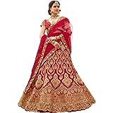 Niza Fashion embroidered semi stitched lehenga for women (Red_Lehenga_Choli_ Free Size)