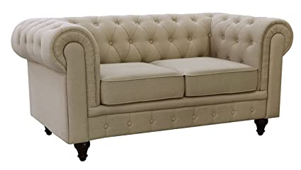 Good US Pride Furniture S5071 L Linen Fabric Chesterfield Sofa Set, Beige
