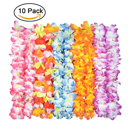 Amazon upgraded hawaiian flower lei for luau party60 flowers upgraded hawaiian flower lei for luau party60 flowers on necklace tropical lays mightylinksfo