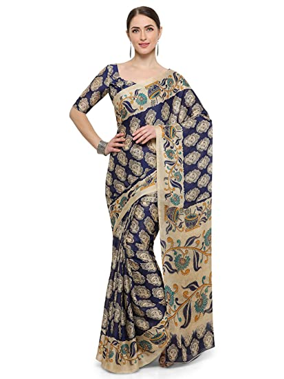 af0a4eda24 Vaamsi Synthetic Saree with Blouse Piece (Kalam1004A_Blue_One Size ...