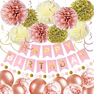 OuMuaMua Pink Gold Birthday Party Decorations for Women Grils, Pink Birthday Decorations with Birthday Banner Balloons Pom Poms Circle Dot Garland and Swirls for Women Grils Birthday Party Decor