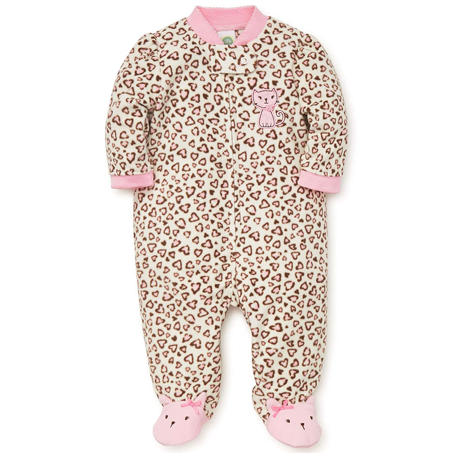 Amazon.com  Little Me Warm Fleece Baby Pajamas Footed Blanket Sleeper Footie  Leopard Print Kitty 9 Months  Baby 0d9a123e5