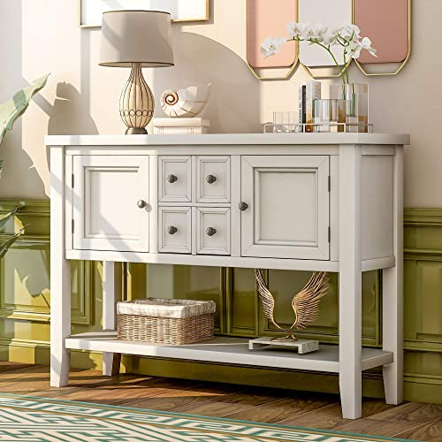 LZ LEISURE ZONE Buffet Sideboard Retro Style Wood Console Table